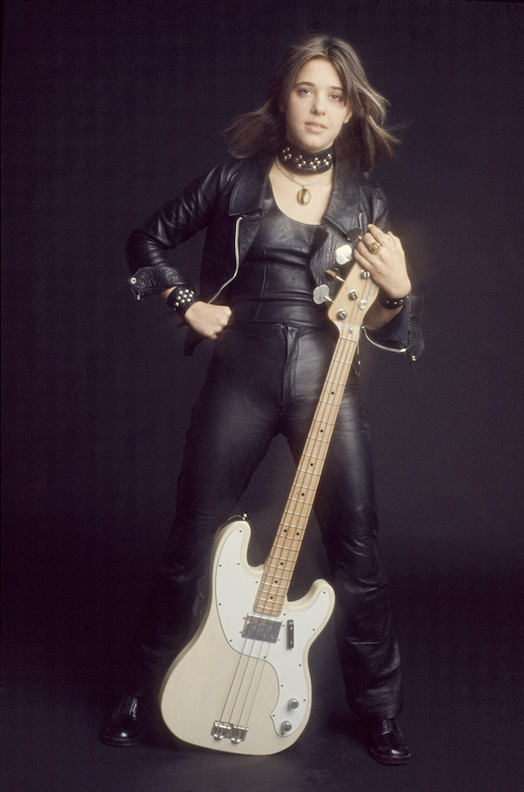Suzi Quatro (favourite man: Lee Marvin) in her trademark leathers. Photography © John Bishop. No reproduction without permission