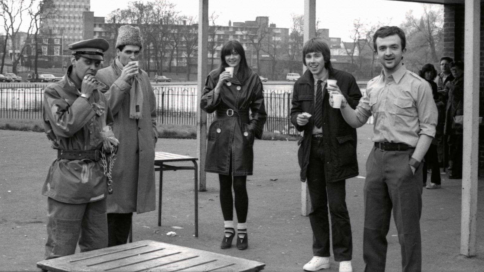 Members of Throbbing Gristle in Victoria Park, Hackney, 1981