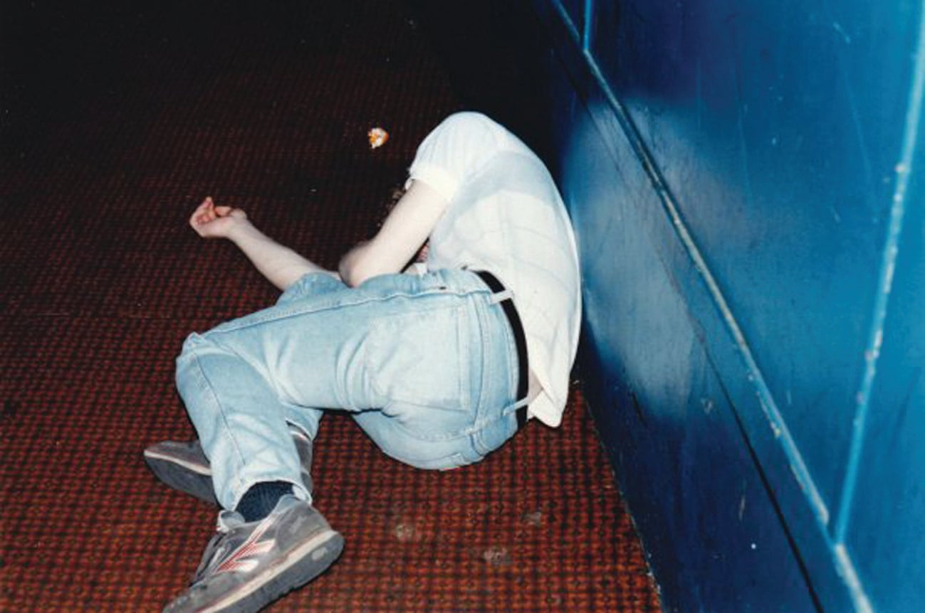 A sleeping punter at Shock Around the Clock, 1989 Photograph- David Hyman