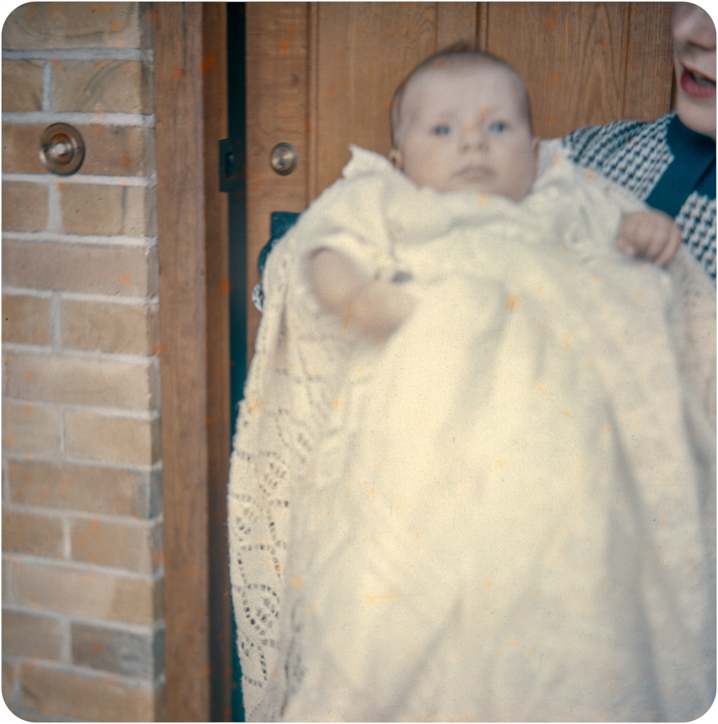Susan in christening gown - St. Ives - 1960