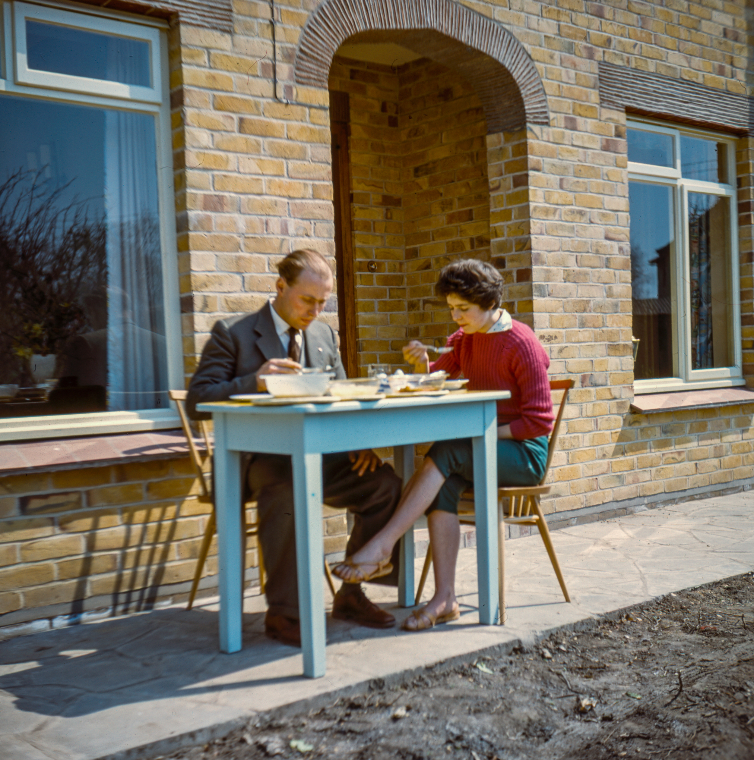Cornwall Lunch on the Patio - St. Ives - April 1958