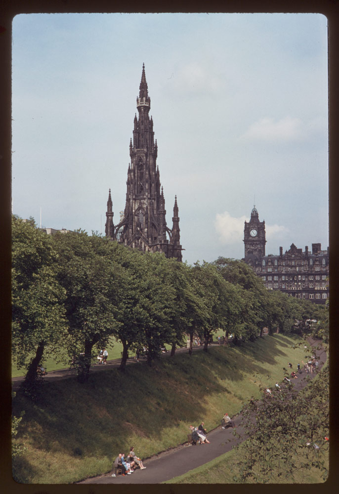 Jun. 15, 1961: Scott Mon't and North British Hotel Edinburgh - Walter Scott Tower and clock tower of Nor. Brit. Hotel | Walter Scott tower and a clock tower of Not. Brit. Ho.