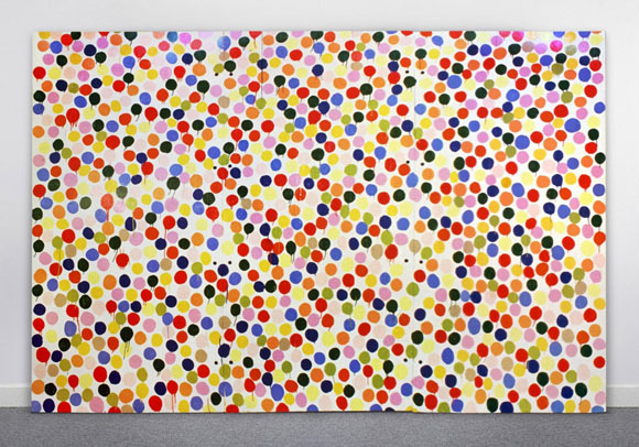 "Spot Painting, 1986 Household gloss on canvas 96"" x 144"", on show at Gagosian Madison Ave, NYC."