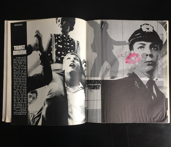 Opening spread of Branscombe's photo story Drunk Twist/Twist Drunk, Ark 33, Autumn 1962
