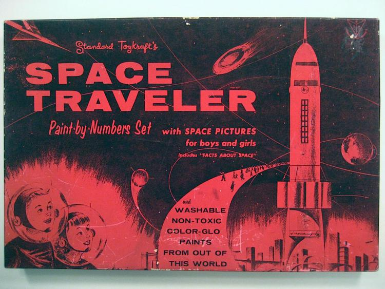 "Craft Master's 1958 ""Space Traveler"" paint-by-number kit."