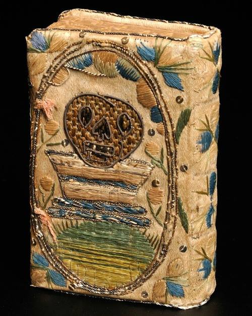 Hand-sewn silk Psalm book cover from 1625