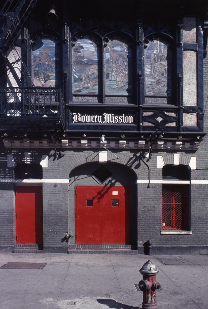 NYC 1978 -- The Bowery Mission building, located at 227 Bowery, between Rivington and Stanton Streets, Manhattan. It provides food, shelter, medical services and employment assistance to poor homeless men.