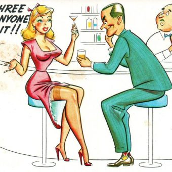 Men Behaving Badly on Saucy Vintage Postcards