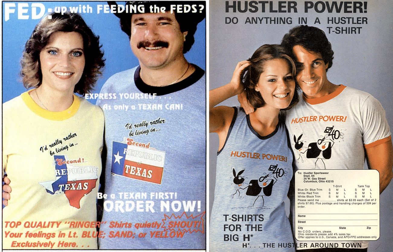 """4b2b88b00c For the couples out there: We have a shirt in favor of Texas secession and  the elegant """"Hustler Power"""" tee. For more magazine t-shirts see Amazing  Magazine ..."""
