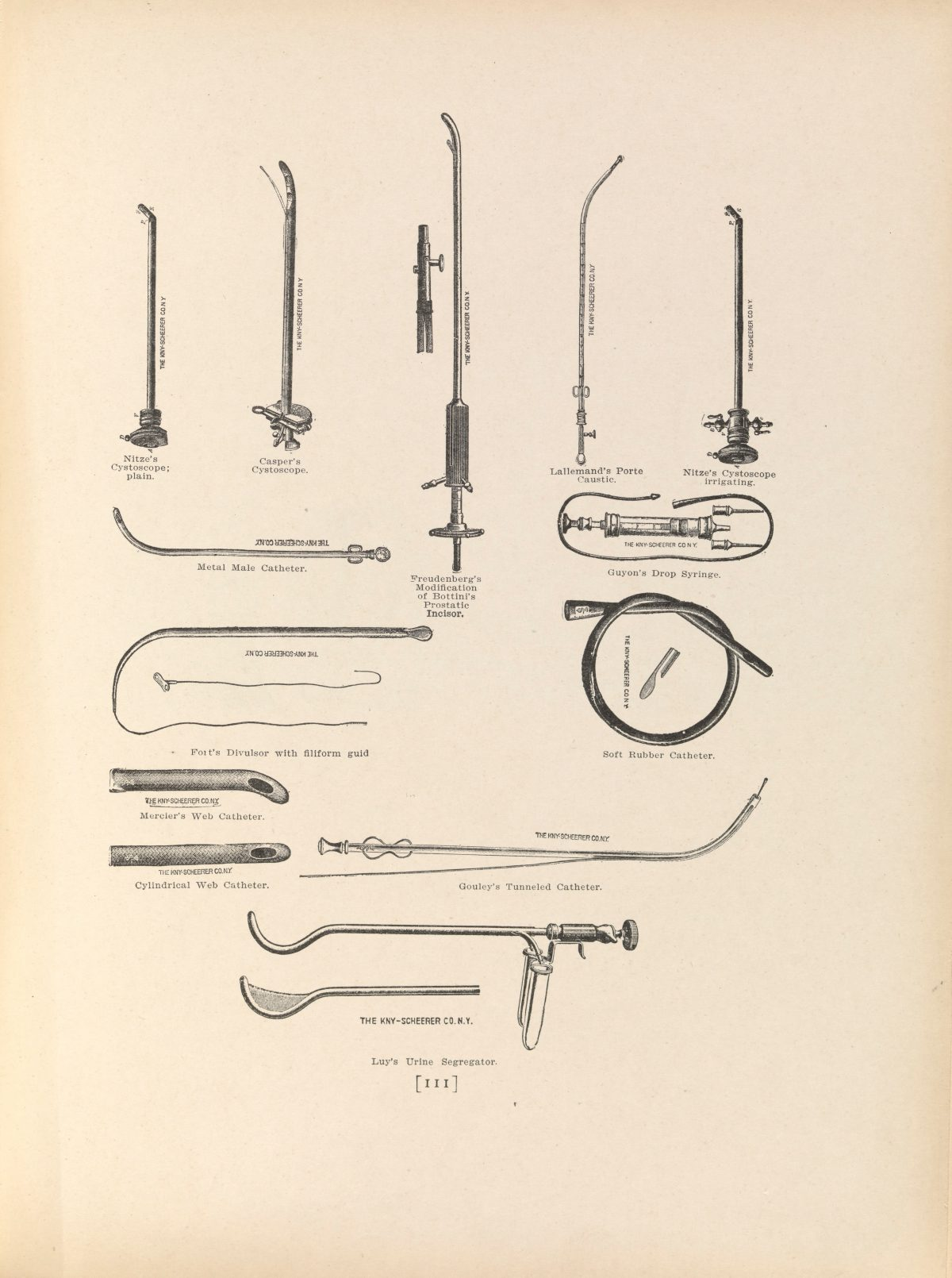 Plate XXXIV. Surgical instruments used for external urethrotomy in prostatectomy (removal of part of the prostate gland).