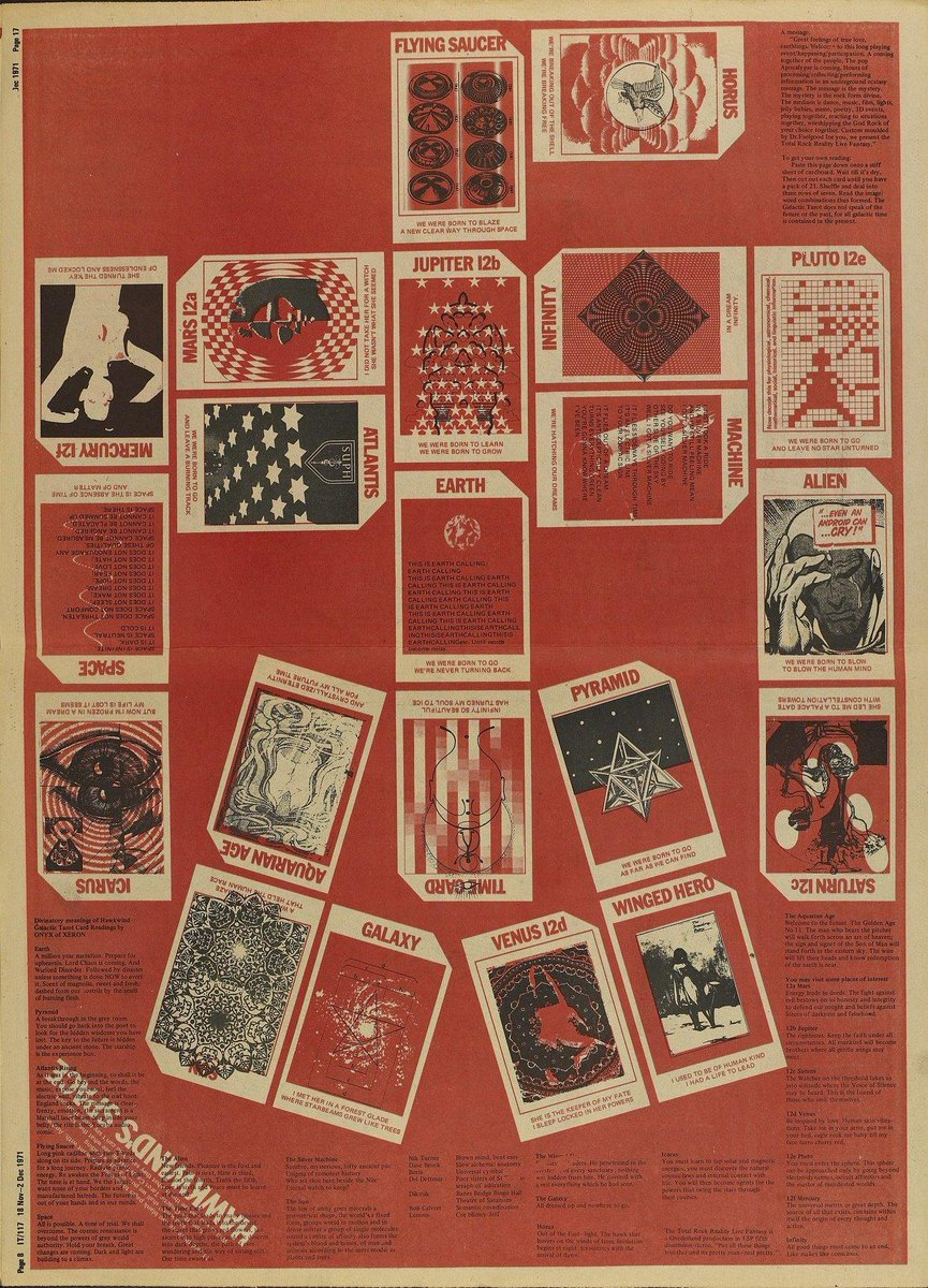 "/Hawkwind's Space cut-out-and-keep 21-card ""Galactic Tarot"" pack arranged in the shape of a hawk in IT 117, November 18 – December 2, 1971. Design: Barney Bubbles"