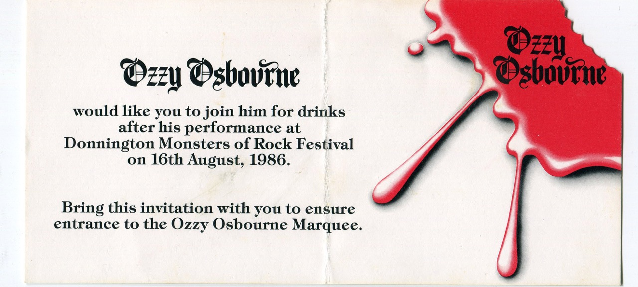 Ozzy Osbourne drinks invite