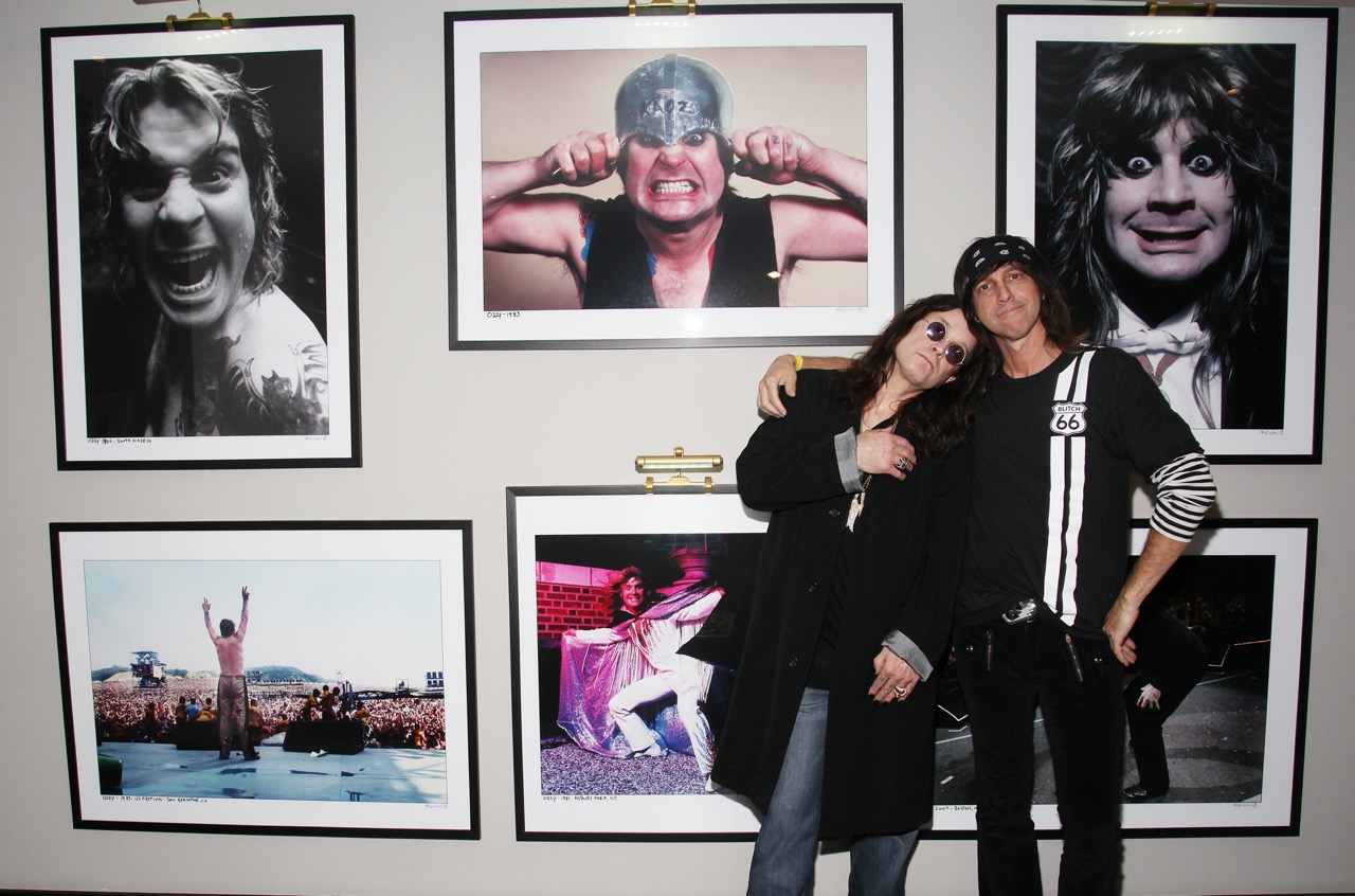 Ozzy and Mark standing in fron of his gallery in June 2009 at The Andaz Hotel AKA Riot House after performing the Sunset Strip Music Festival in West Hollywood California. Ozzy first stayed with his band Black Sabbath in the 70's .