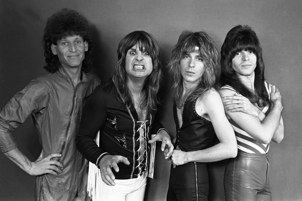 Tommy Aldridge, Ozzy Osbourne, Randy Rhoads and Rudy Sarzo backsage at the Capitol Theatre in Passaic, New Jersey on April 24, 1981
