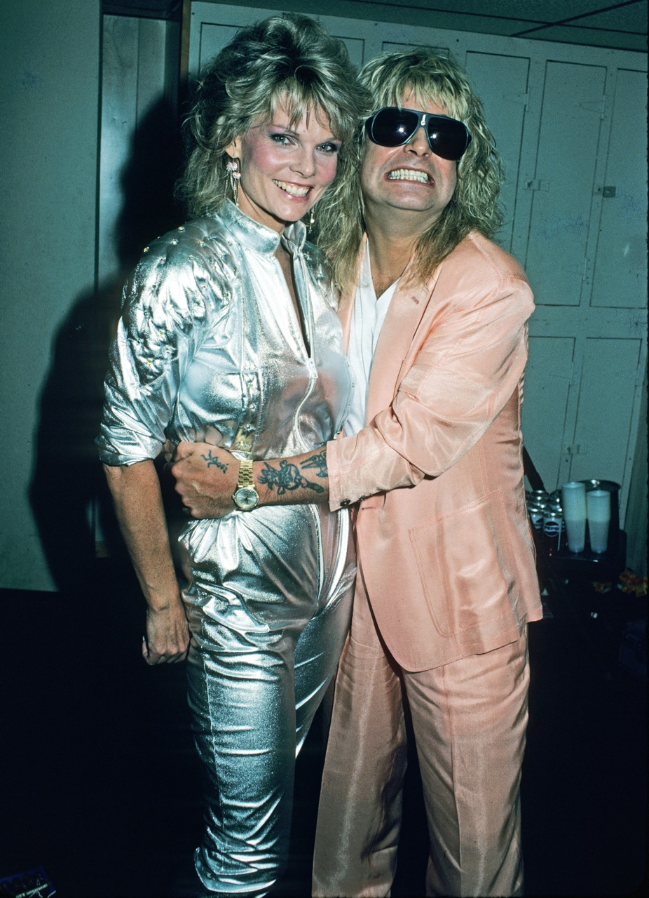 Ozzy Osbourne and Cathy Lee Crosby another guest celebrity at WrestleMania 2 on April 7, 1986