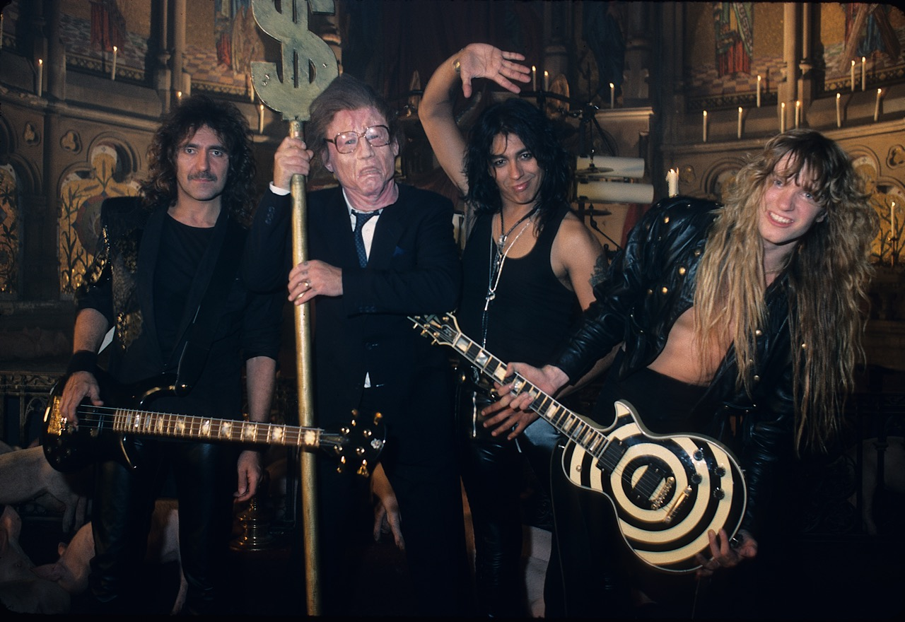 Geezer Butler, Ozzy as Jimmy Swaggart, Randy Castillo and Zakk Wylde during the shooting of Miracle Man video in 1988.