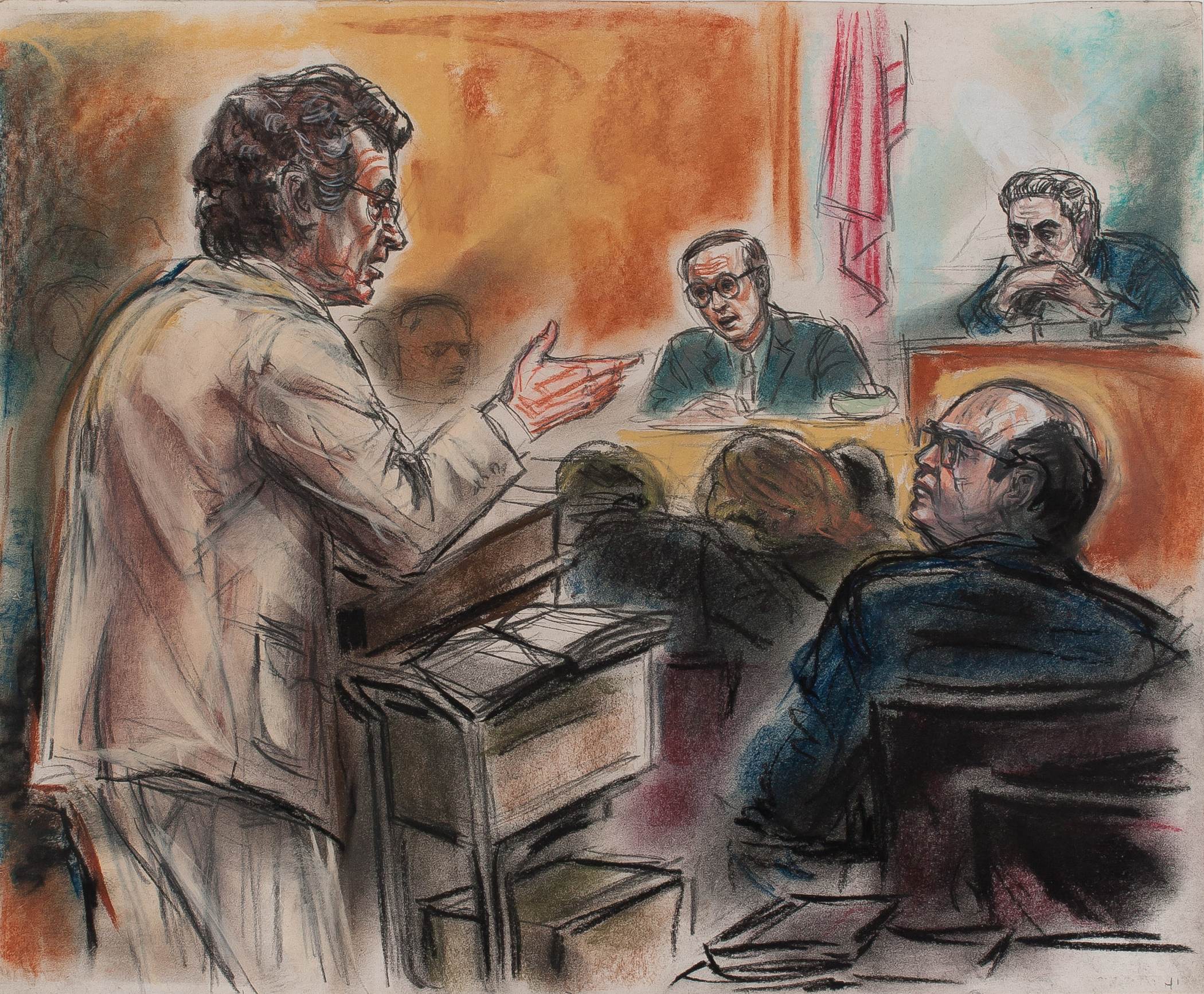 14. Freda Reiter, Ben-Veniste Questions Dean, as Ehrlichman Watches, Courtesy online Gallery 98