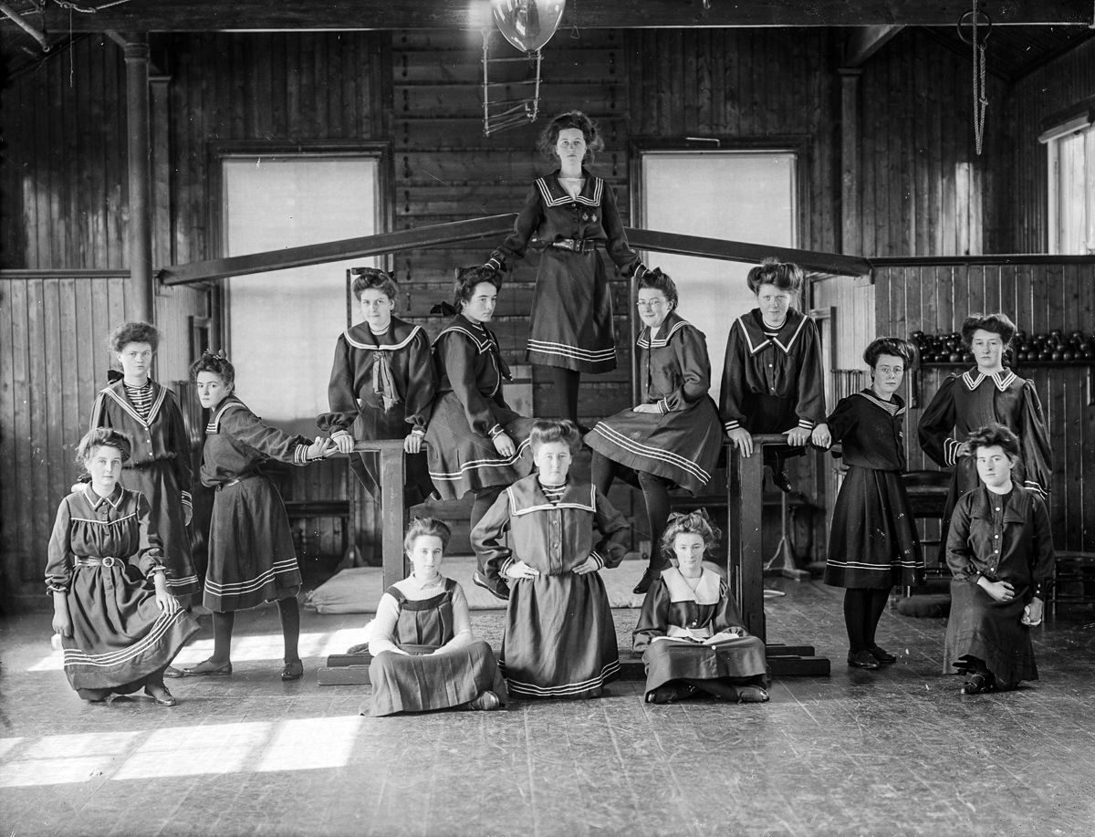 Ireland 1908 Girls of the Ursuline Convent in Waterford pose in their gymnasium.
