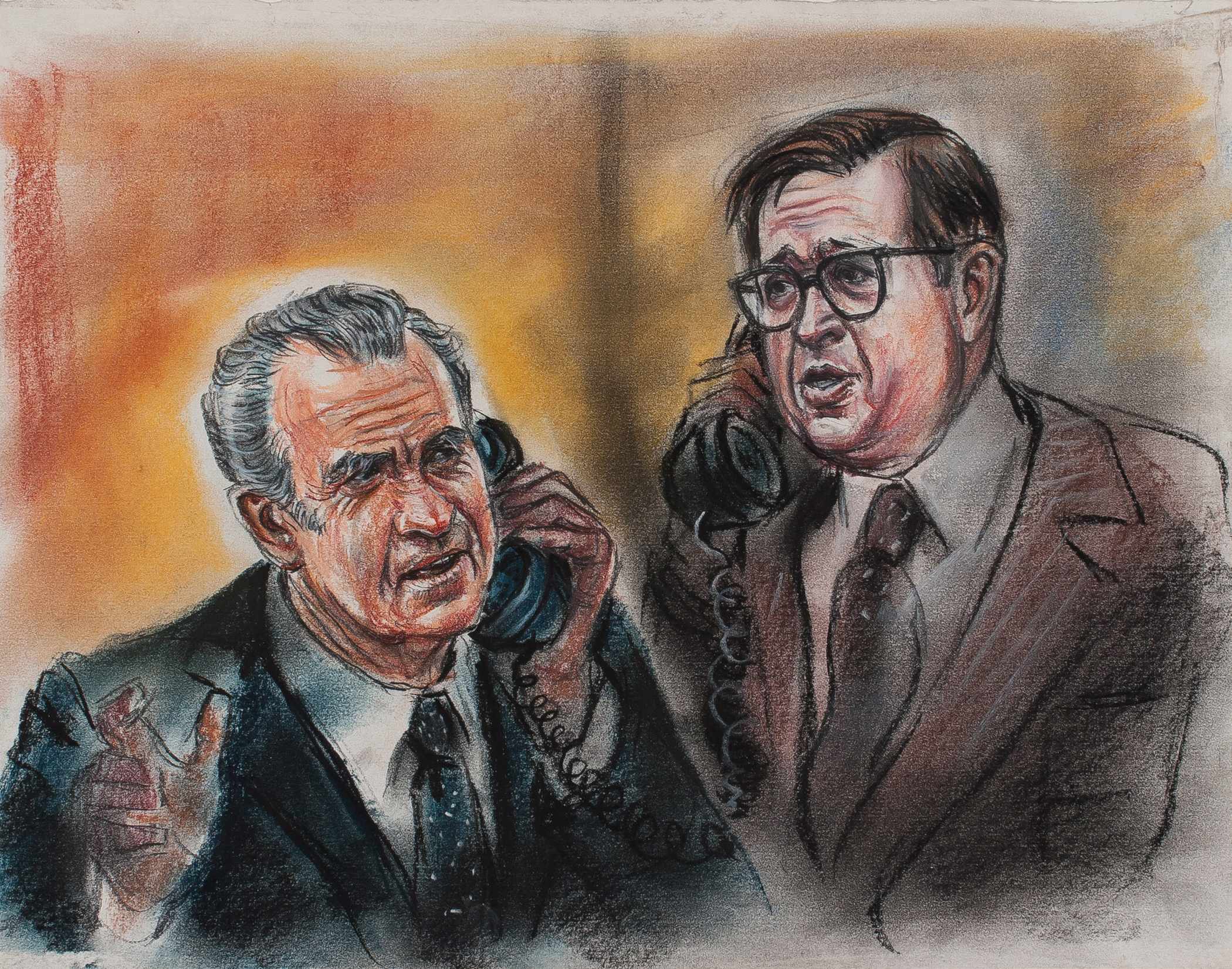 3. Freda Reiter, Nixon, Colson on Phone, Recreation of 1973 conversation, drawn to accompany television playback of Nixon White House tapes during the 1974 trial, Courtesy online Gallery 98