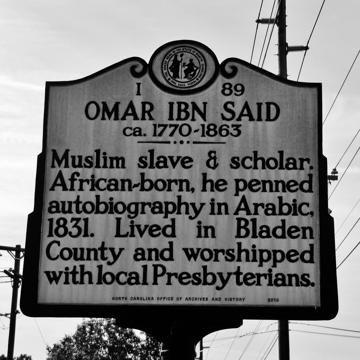 The historic marker for Omar Ibn Said is on Murchison Road, North Carolina Highway 210 in Fayetteville, North Carolina in Cumberland County.