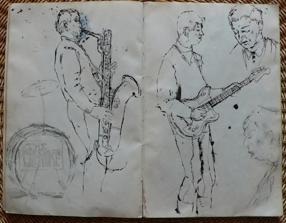 Ian McLagan, right with guitar, in Twickenham Art School band The Cherokees, sketched by Barney Bubbles – then Colin Fulcher – in 1963