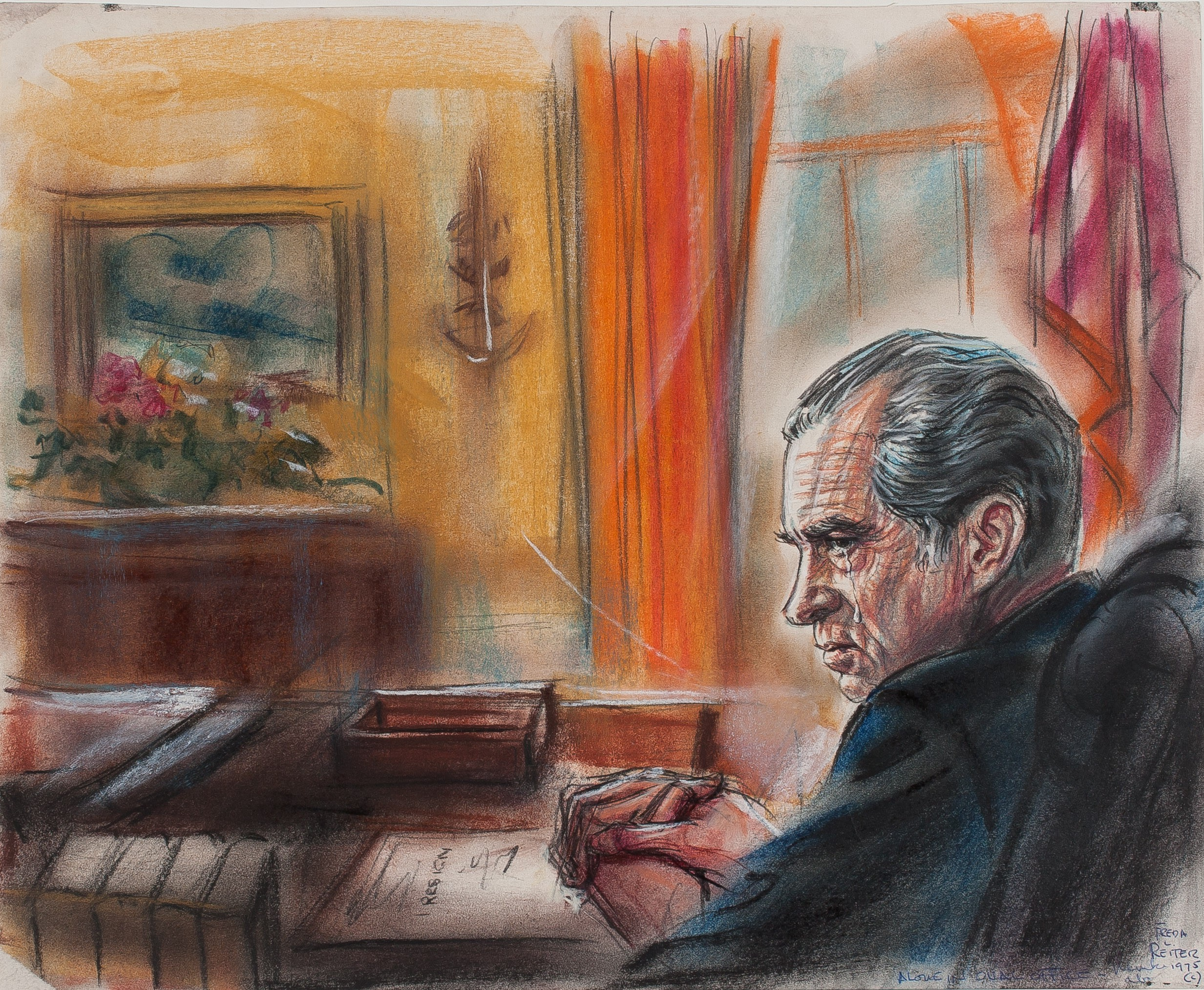 "Freda Reiter, ""Nixon resigns in 1974."" (Pastel drawing, 17 x 14 inches, courtesy of online Gallery 98)"