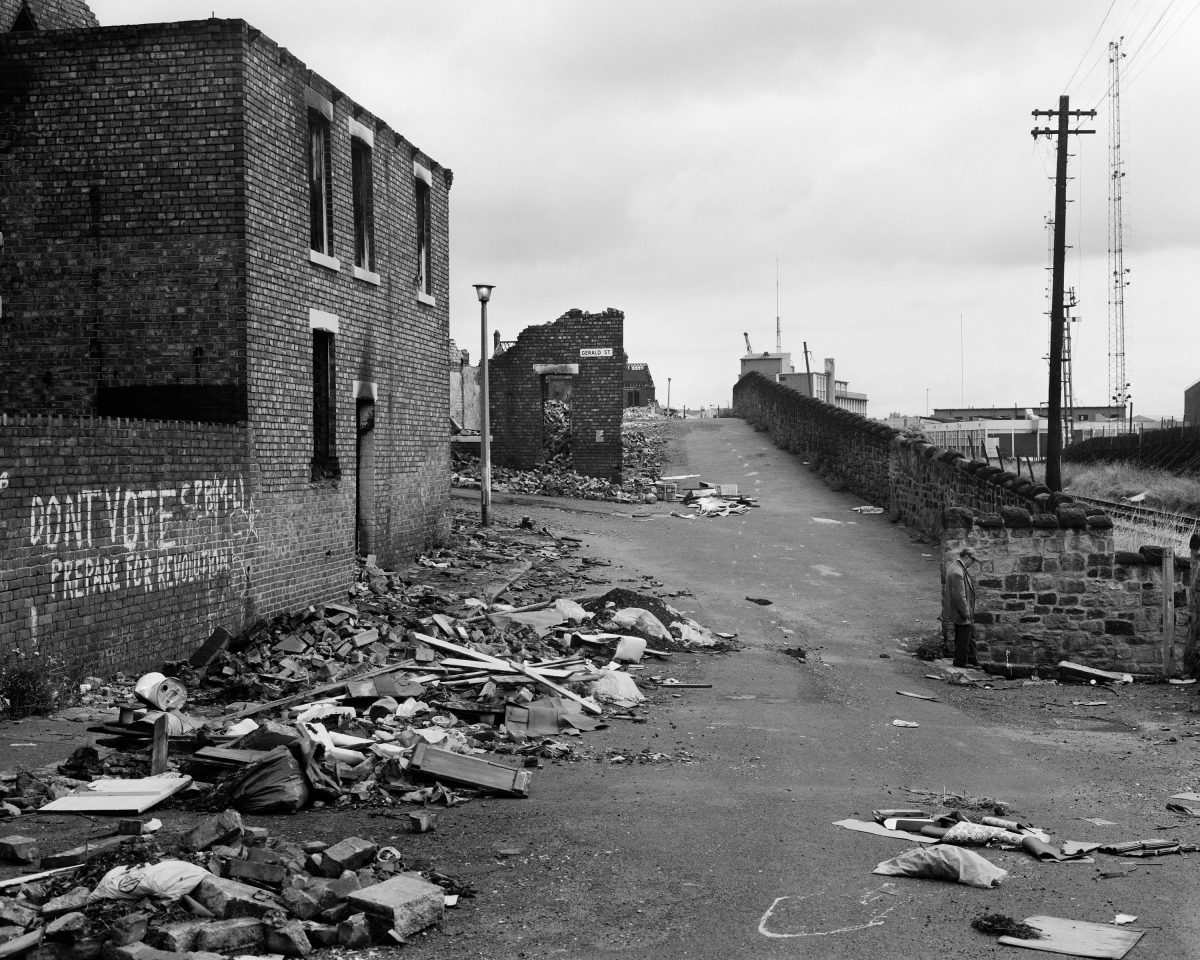 Demolished housing, Wallsend, August 1977. Given by the artist in honour of all the shipyard workers of Tyneside, 20172017© Chris Killip