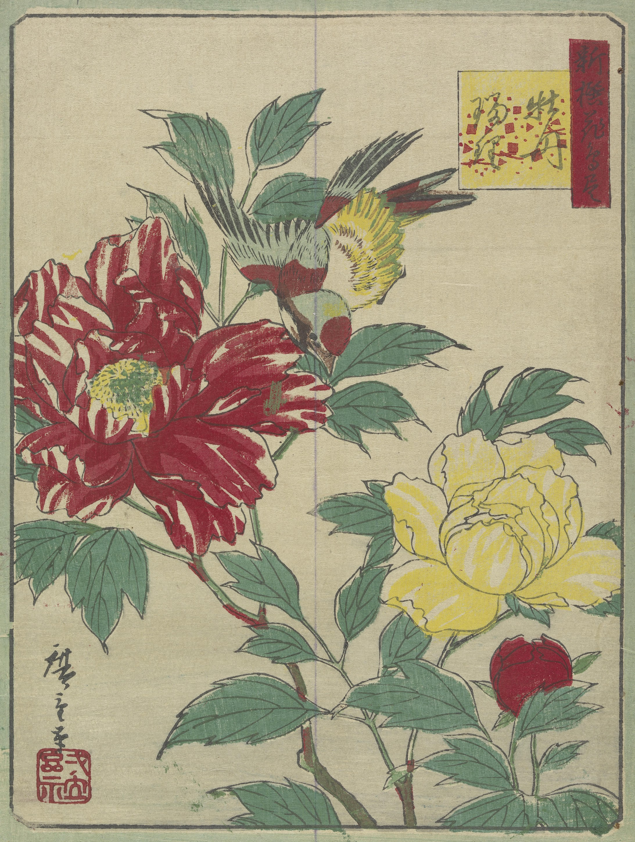 Peonies and Blue-and-White Flycatcher, from the album New Selection of Birds and Flowers Tokyo, 1871-1873 Utagawa Hiroshige III (1842 - 1894)
