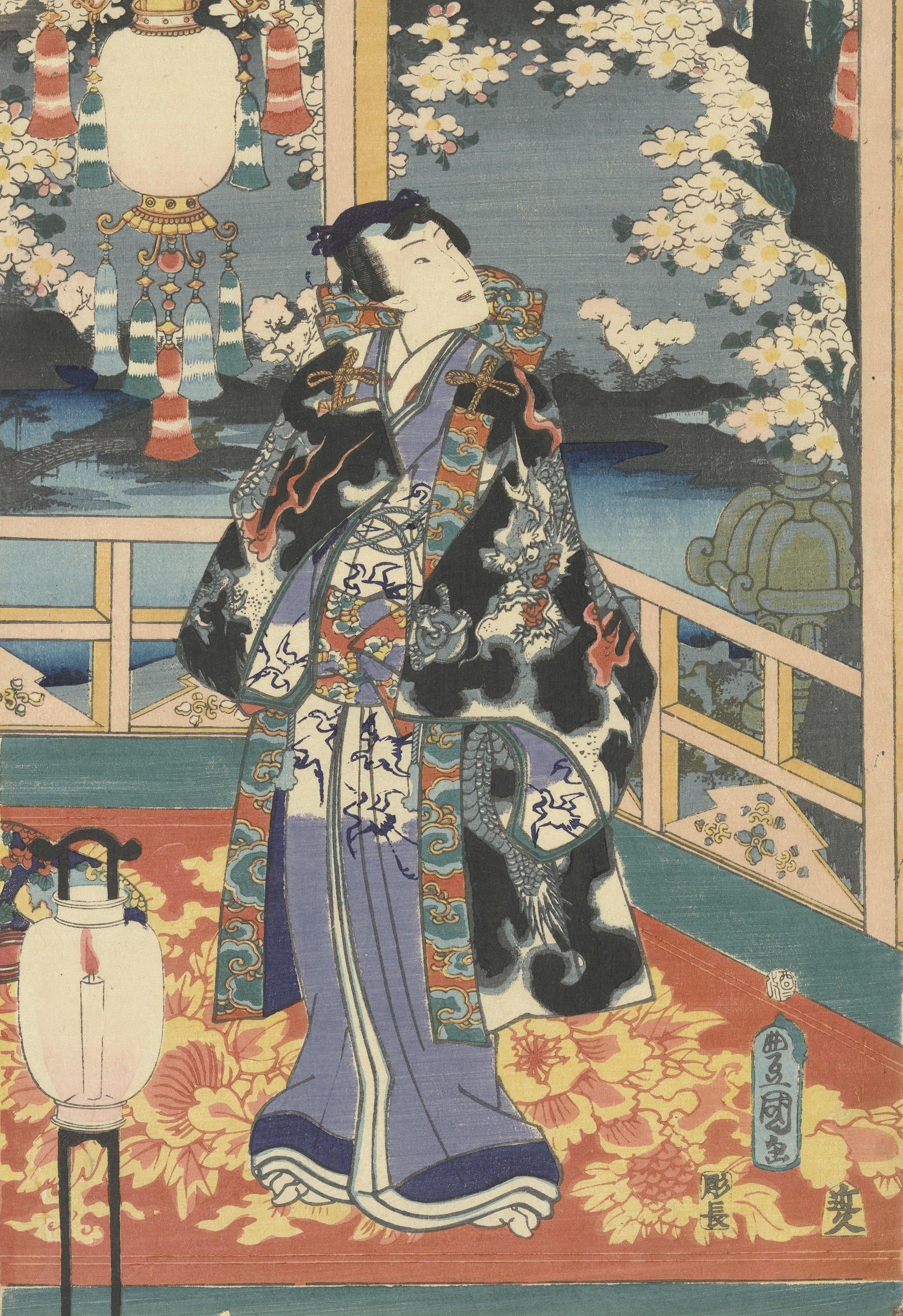 Genji Reflecting on the Flowers at Night, central sheet of a triptych Edo, first month 1861 Utagawa Kunisada (1786 - 1865)