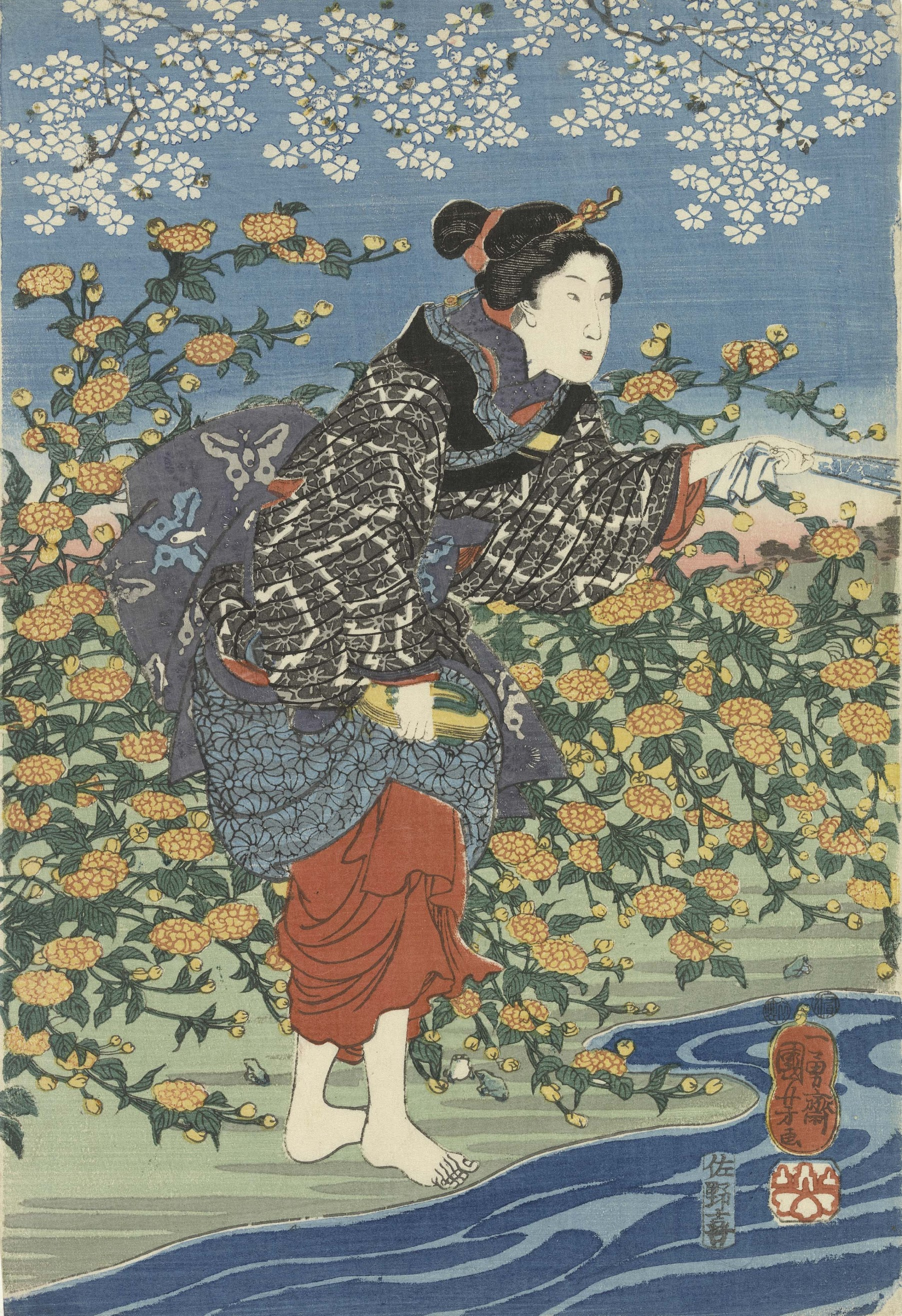 Woman on a Riverbank, left sheet of the tryptich The Crystal River of Ide in Yamashiro Province, from an untitled series of the Six Crystal Rivers Edo, 1847-1848 Utagawa Kuniyoshi (1797 - 1861)