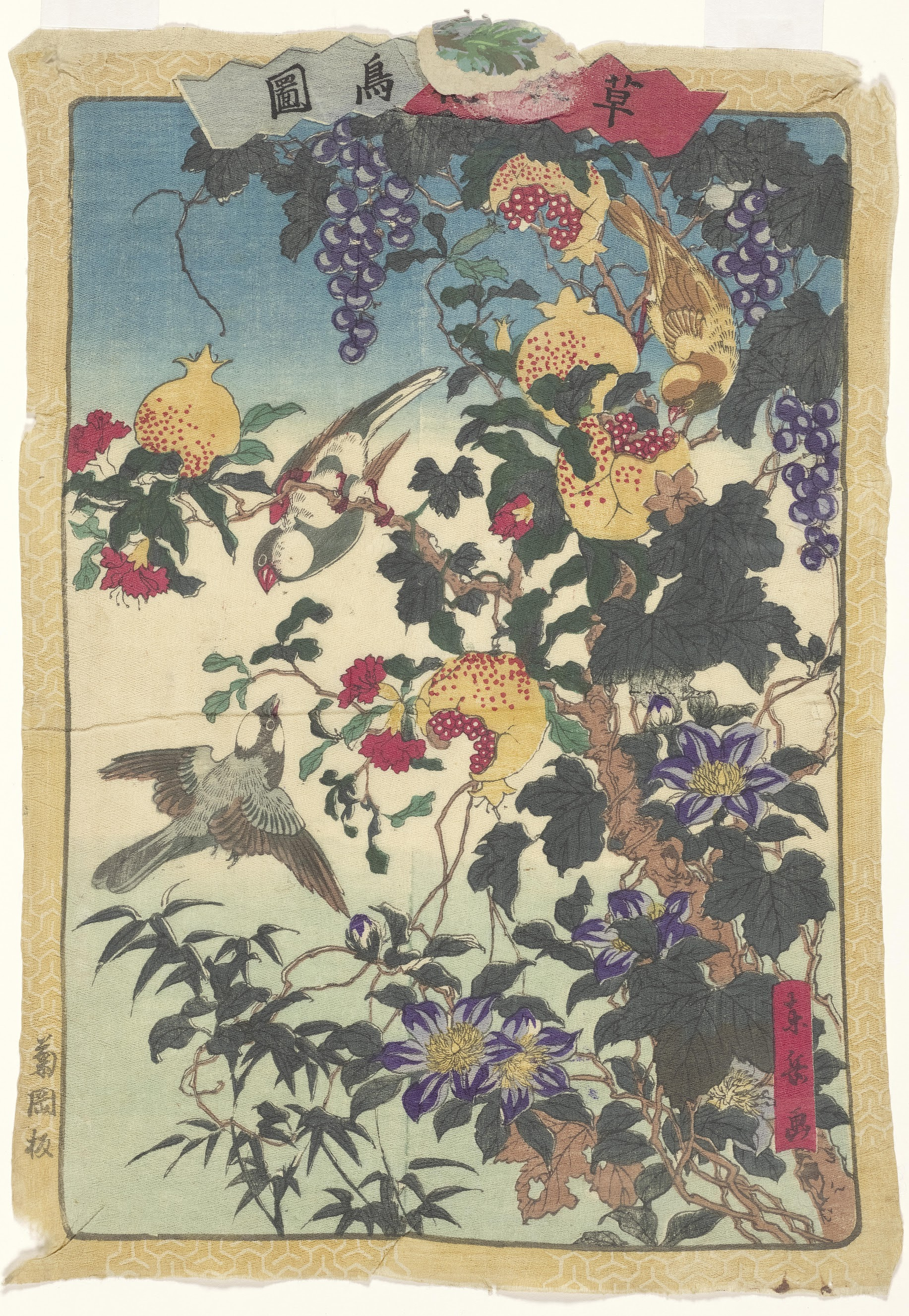 Finches and Pomegranates, from the series Illustrations of Plants, Trees, Flowers and Birds Tokyo, c. 1875 Togaku