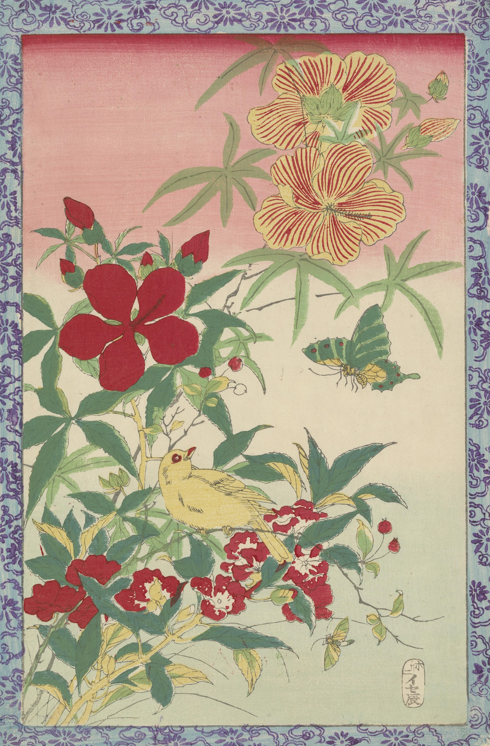 Autumn Flowers, Yellow Bird, and Insects Tokyo, c. 1875 onbekend