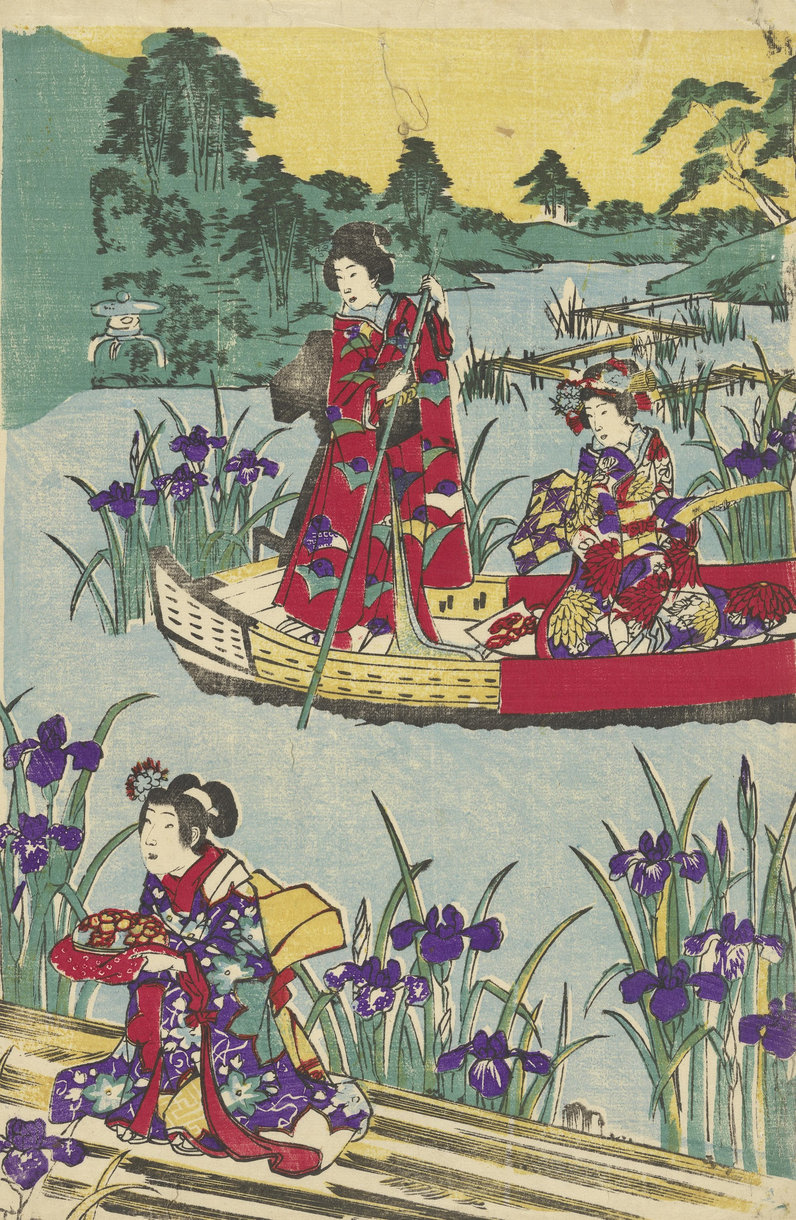 Girl Attendant on Bridge and Two Women on a Boat, right sheet of a triptych Tokyo, c. 1865 onbekend