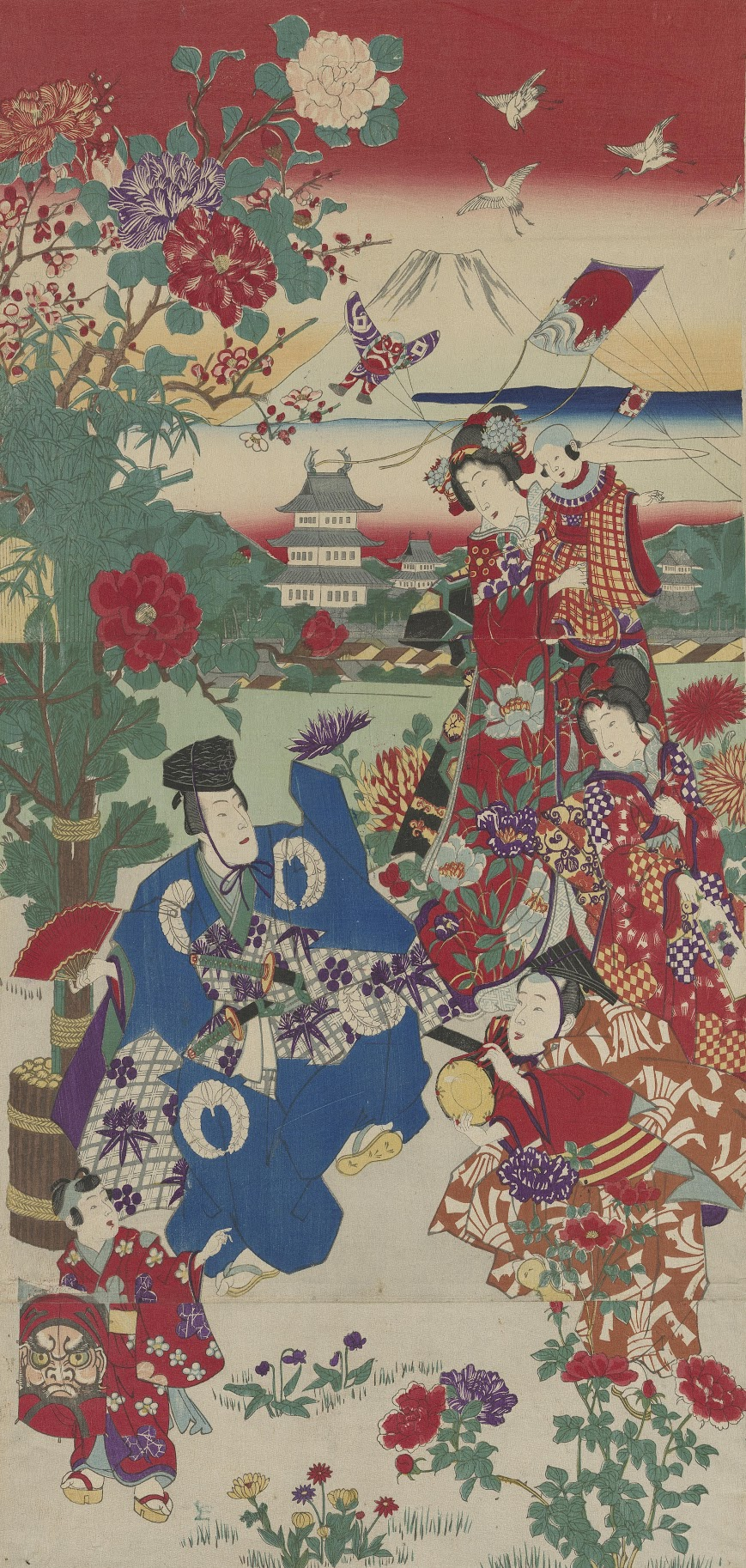 Two Manzai Dancers and Kite Flying Women and Children at the New Year Tokyo, c. 1875 onbekend