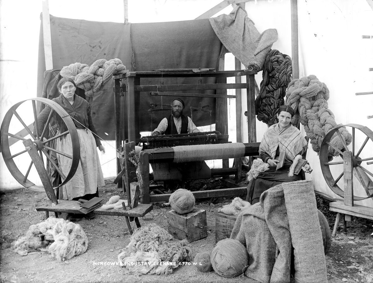 c. 1910 A wool operation in Leenane, County Galway.