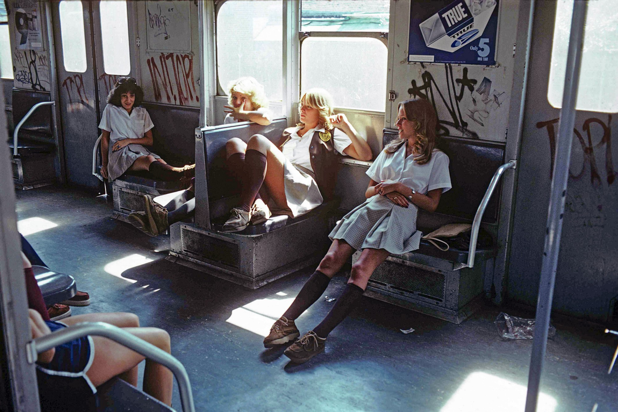 Schoolgirls on the A Train to Far Rockaway, Queens Subway New York, NY, 1977-1985, Copyright by Willy Spiller