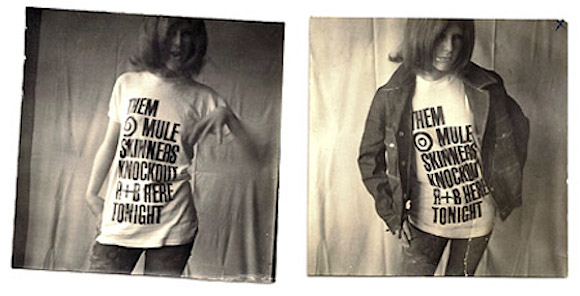 Twickenham art school friend Lorry Sartorio poses for Bubbles in The Muleskinners t-shirt, 1964