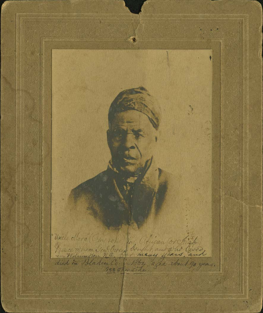 "[Portrait of Omar ibn Said] Click here for a smaller image ""Uncle Moro"" (Omeroh), the African (or Arab) Prince whom Genl. Owen bought, and who lived in Wilmington N.C. for many years, and died in Bladen Co. in 1864, aged about 90 years. see other side"