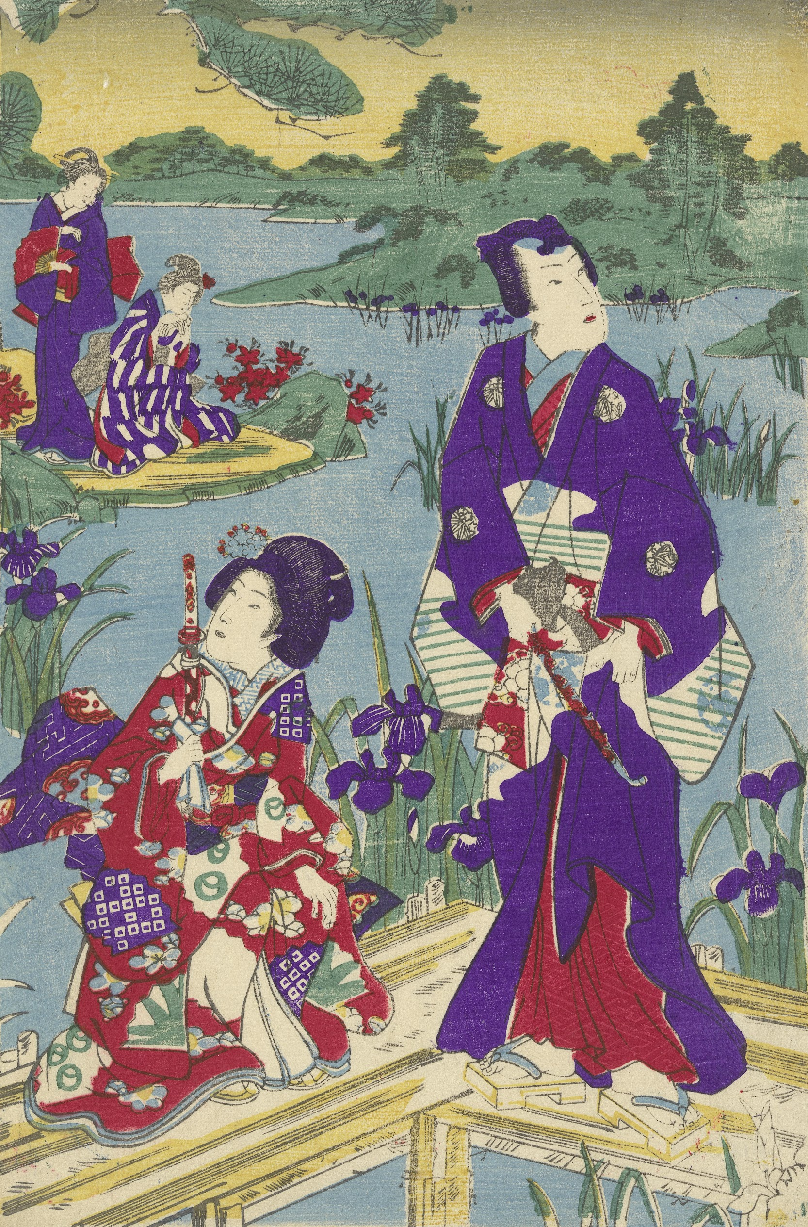 Rustic Genji and Girl Attendant on Bridge, central sheet of a triptych onbekend, c. 1865