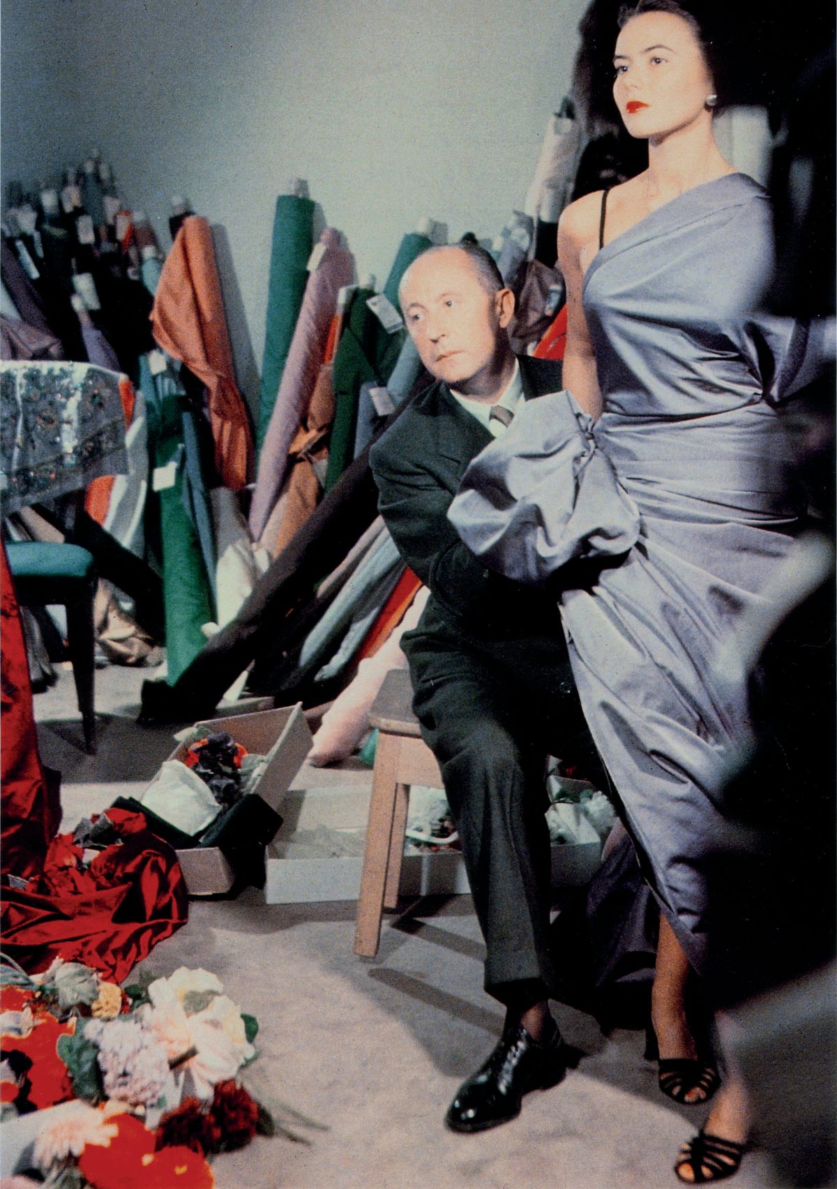 'A consummate professional'- Christian Dior with model Sylvie, c1948. Photograph- Christian Dior
