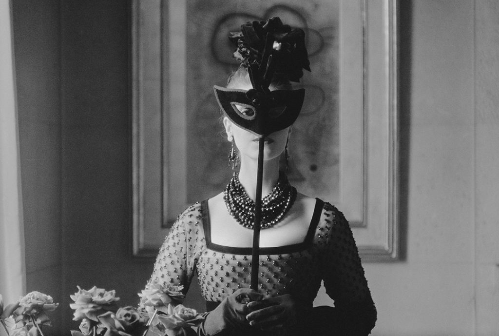 'Dior-St.-Laurents-Mask-with-Lola-Dress'-1958-Mark-Shaw