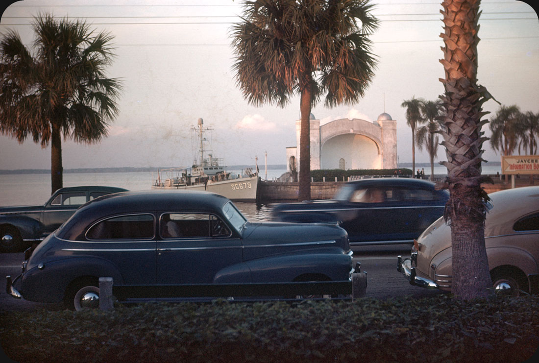 Bandshell, Sanford, FL – Early 50s Bandshell on Lake Monroe (St. John's River) in Sanford, Florida. Submarine Chaser SC679 sits ready.