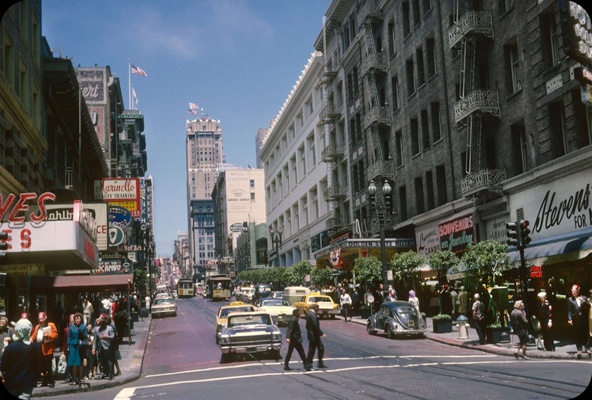 San Francisco, California — 1966 Corner of Powell and Ellis looking down Powell towards O'Farrell.