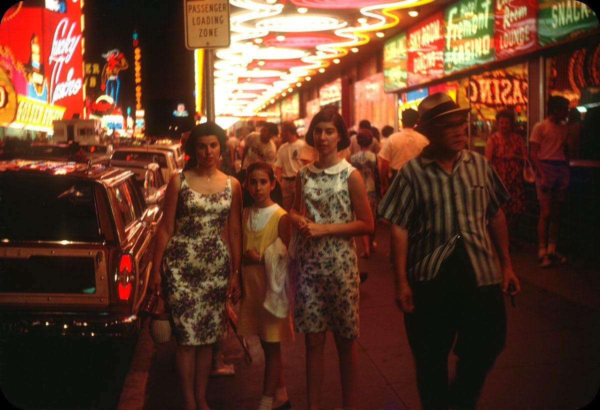 Las Vegas at Night — 1967 Under the Fremont Hotel marquee