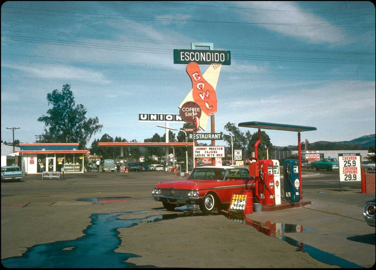 Escondido Bowl and a Red Ford Galaxie - 1966 A fire-engine red 1962 Ford Galaxie rinses off at a Chevron under a googie-riffic sign in Escondido, California.
