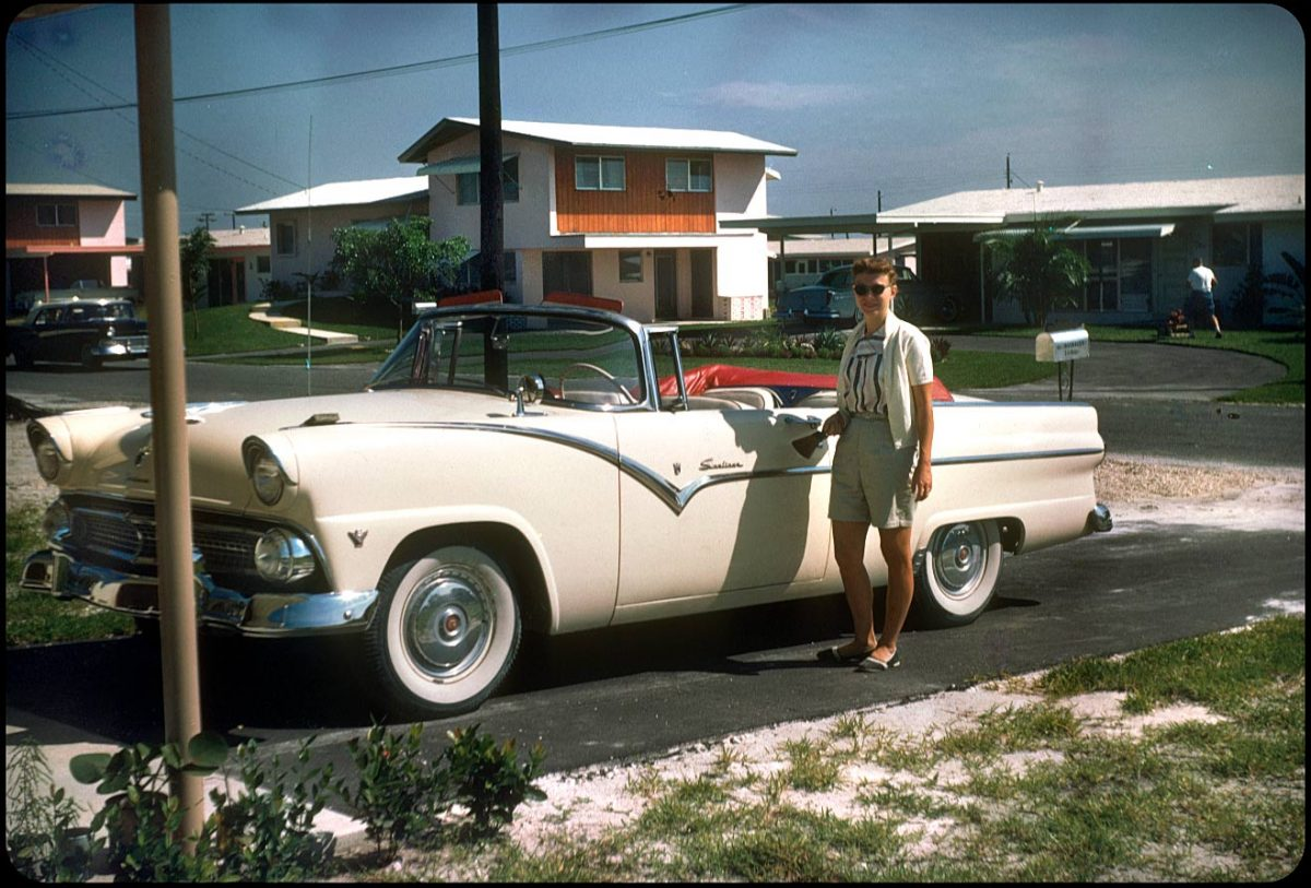 Mom and her '55 Ford Fairlane Sunliner, 1956 In honor of Mother's Day, here's one from from our own closet of Mom in Ft. Lauderdale (pre-me) with her '55 Sunliner.