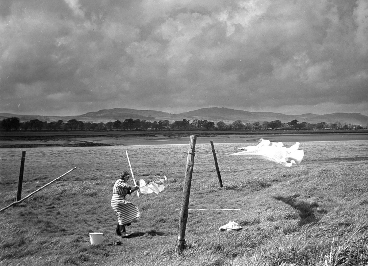 Clothes line in Glencaple, Scotland, 1954