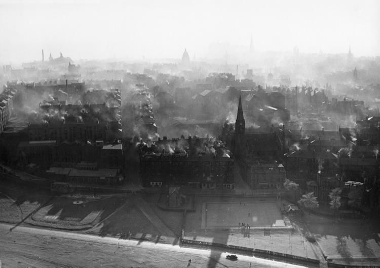 Dumbiedykes from Salisbury Crags. Photograph by Edwin Smith. 1954