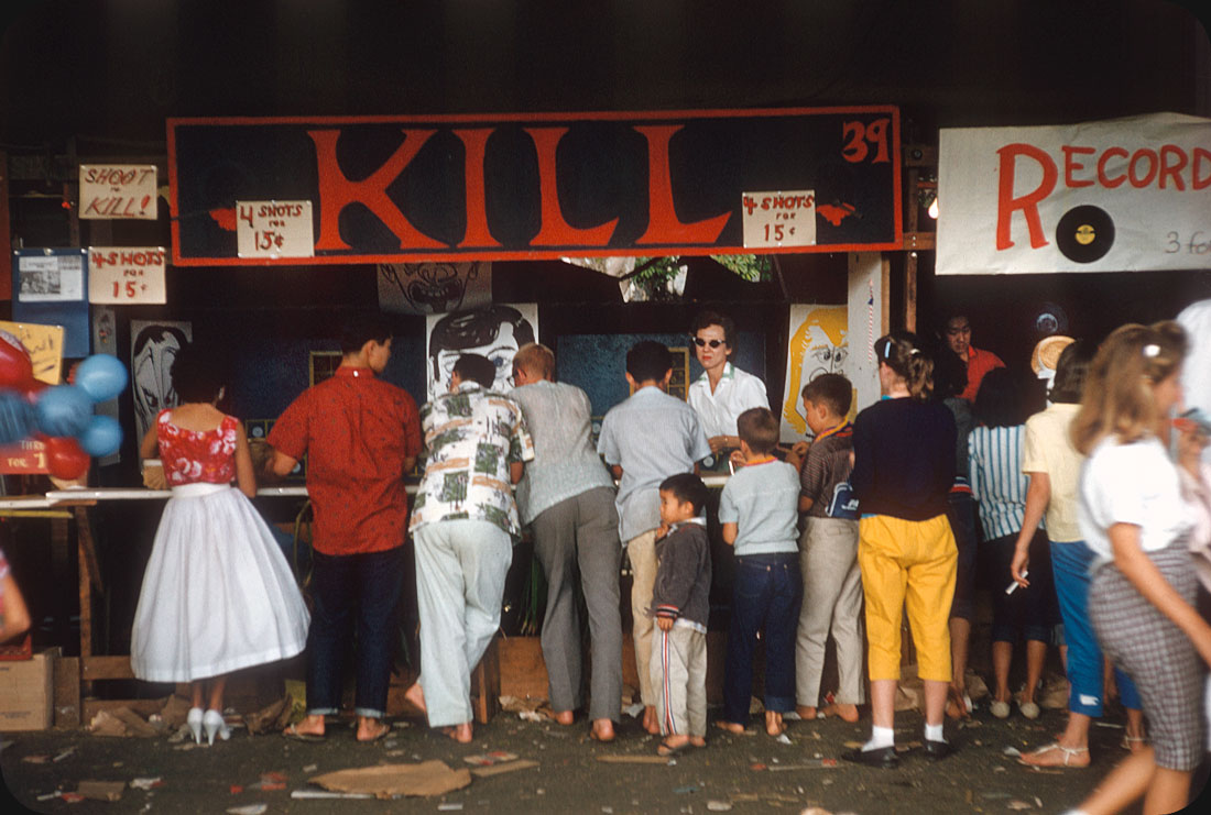 "Shoot to Kill! — 1950s 4 shots ¢.15. Next door is ""Record Smash"". Street fair, Hawaii."