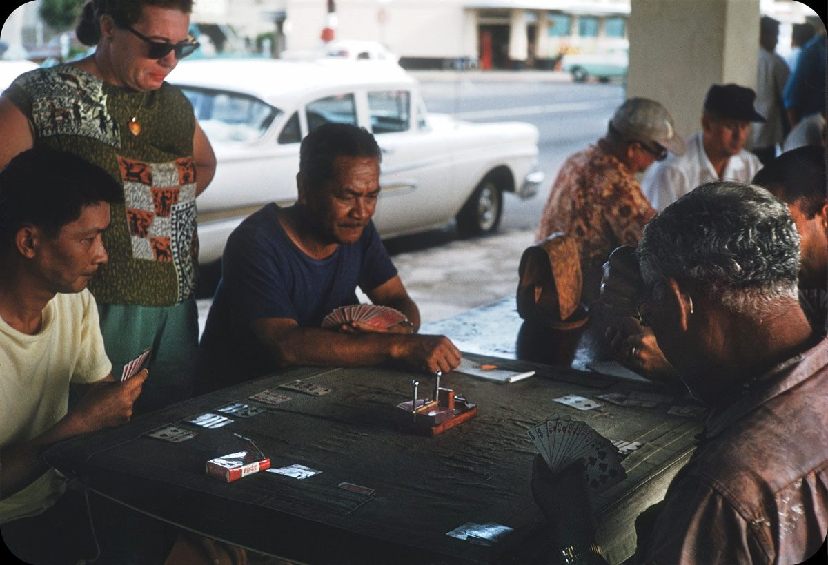Card Game, Honolulu, Hawaii – 1959 Probably in Kuhio Beach Park on Kalakua Ave.